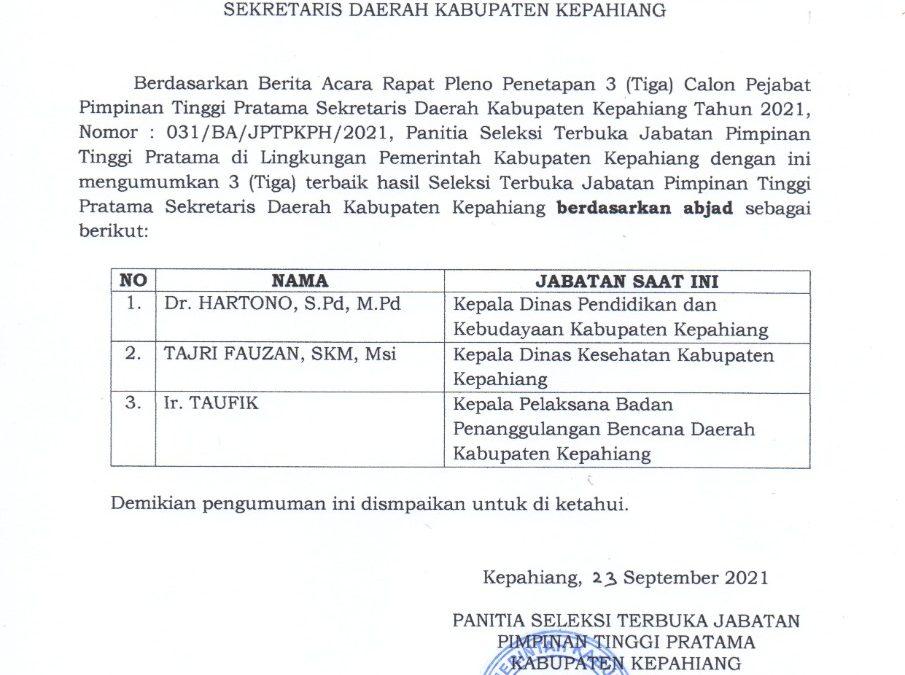 Pengumuman Hasil Akhir Seleksi Terbuka Jabatan Pimpinan Tinggi Pratama Sekretaris Daerah Kabupaten Kepahiang